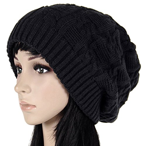 Oversized Knit (Surblue Unisex Trendy Warm Oversized Chunky Cable Knit Slouchy Beanie,Black,Large)