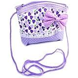 GIRLS SMALL HEART PRINT SPOTTY BOW PURSE Handbag Fabric Multi Fashion Accessory (Lilac)