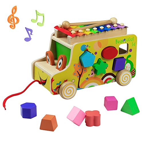 Wooden Toys Pull Cars Xylophone Knock Musical Instruments Animal Xylophones 8 Keys with 2 Mallets 10 Shape Blocks for Kids Toddlers Girls Boys 3 4 5 Years by yoptote