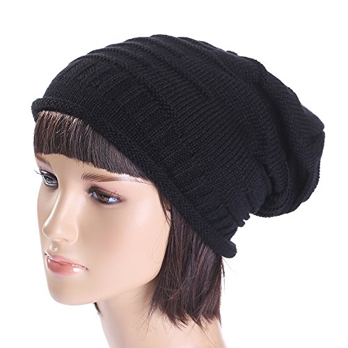 Challyhope Baggy Warm Crochet Winter Wool Knit Ski Beanie Skull Slouchy Caps Hat Headdress (Black, Free)