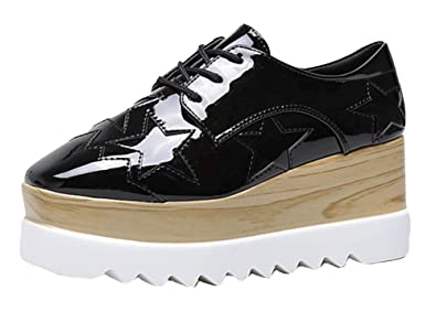 19f62e995a93 Aisun Women s Casual Star Square Toe Platform Wedge Medium Heels Lace Up  Sneakers Shoes Black 4