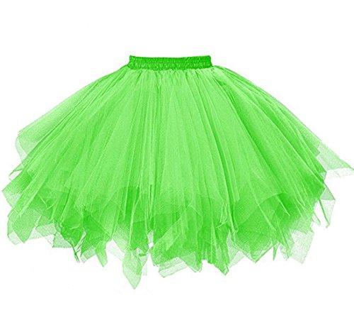 KaBuNi Women's 1950s Ballet Tutu Mini Petticoats Dance Dress Candy Color Lime Green Plus (Plus Size Petticoats)