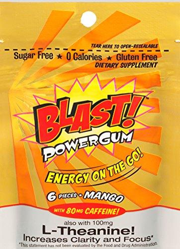Blast Power Gum Mango Flavor with 80mg Caffeine, 6 Pieces per (Power Gum)