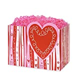 Small Swirly Hearts Basket Boxes - 6.75 x 4 x 5in. - 90 Pack