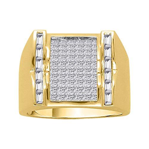 KATARINA Baguette and Princess Cut Diamond Men's Ring in 14K Yellow Gold (1 7/8 cttw, G-H, VS2-SI1) (Size-9)