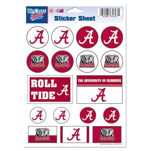 WinCraft NCAA University of Alabama Vinyl Sticker Sheet, 5