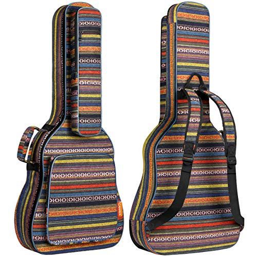 CAHAYA Bohemian Guitar Bag Vintage Guitar Case 0.65in Thick Sponge Padded Guitar Case with 5 Convenient Pockets for 40 41 42 Inch Acoustic Classical Guitar