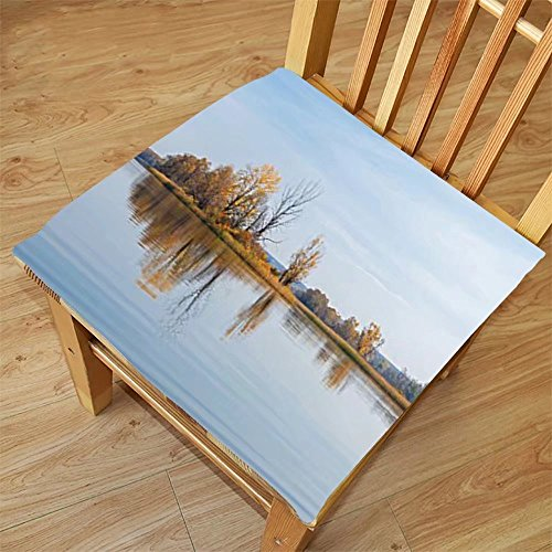 Nalahome Set of 2 Waterproof Cozy Seat Protector Cushion Cottage Decor Collection Small Island on a Lake with Some Autumn Trees Reflecting to the Calm Water Picture Green Blue Printing - Pictures For Apps Reflecting