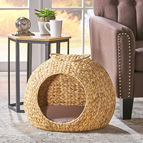 Great Deal Furniture Athena Natural Finish Water Hyacinth Wicker Dog Bed with Olive Fabric -