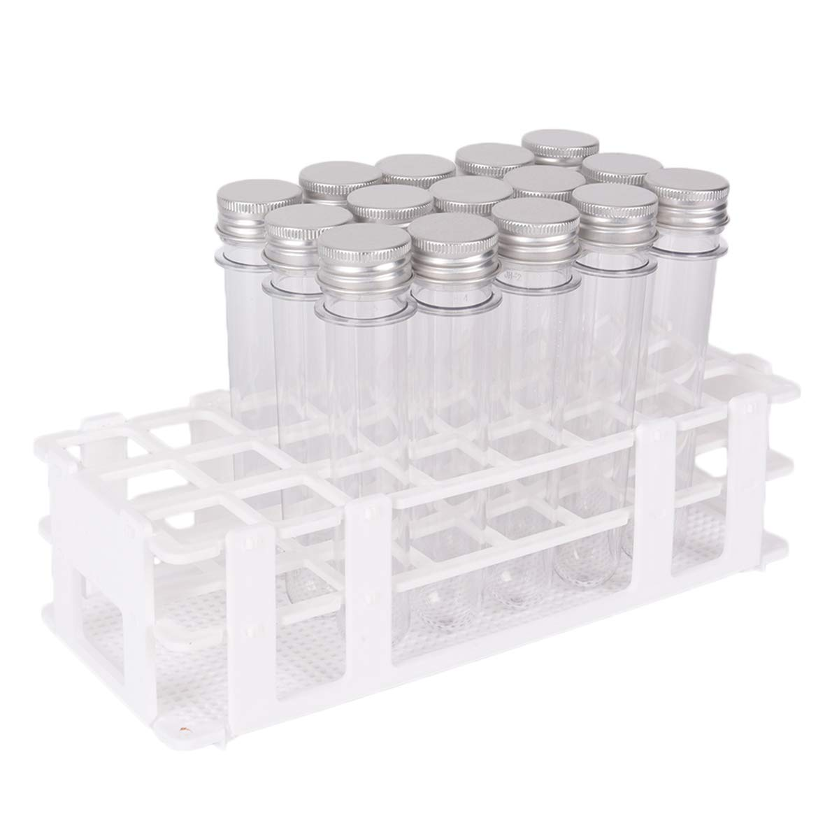 15 Pack Test Tubes with Rack Buytra 40ml Clear Plastic Test Tube Gumball Candy Tube with Caps 25x140mm 24 Holes Detachable Test Tube Rack Holder for 25mm Tubes