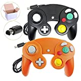 Poulep 2 Packs Classic Wired Gamepad Controllers for Wii Game Cube Gamecube Console (Black and Orange)