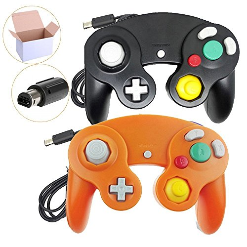 Poulep 2 Packs Classic Wired Gamepad Controllers for Wii Game Cube Gamecube Console (Black and Orange) (Orange Console)