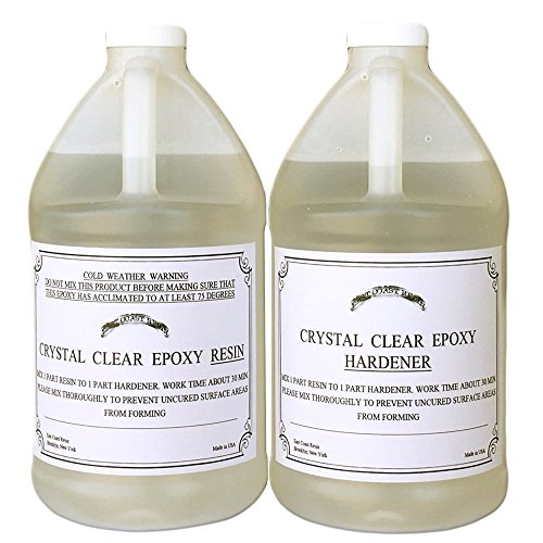 Epoxy Coated Finish - EPOXY RESIN CRYSTAL CLEAR 1 Gallon Kit. FOR SUPER GLOSS COATING AND TABLETOPS