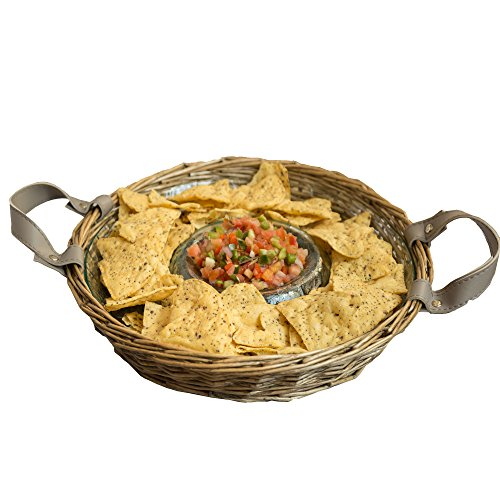 Chips and Dip Server Bowl Platter with Basket - Dip Serving Tray Set for Chip and Dip, Salsa, Veggies, Chocolate, Snacks and More