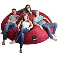 8 Round Cinnabar Red SLACKER sack Biggest Foam Bean Bag Microfiber Cover Dark Red like Love Sac