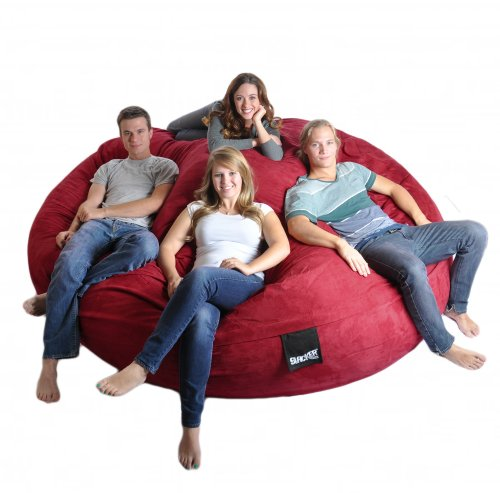 8' Round Cinnabar Red SLACKER sack Biggest Foam Bean Bag Microfiber Cover Dark Red like Love Sac by SLACKER sack