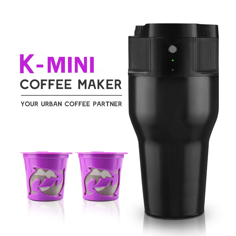 i Cafilas Travel Mini Coffee Maker Portable Espresso Maker Compatible with K pods Automatic Coffee Maker 500ML Stainless Steel Brewer Cup with USB cable by BRBHOM (Image #1)