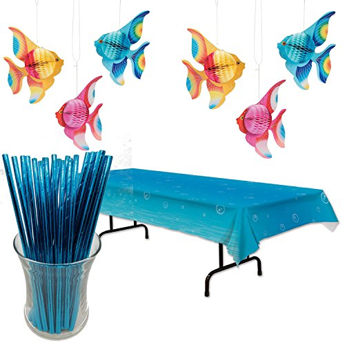 Curated Nirvana Under the Sea Table Cover with 6 Count Tissue Paper Tropical Fish and 25 count Aqua Blue Foil Straws Bright Tropical Fish