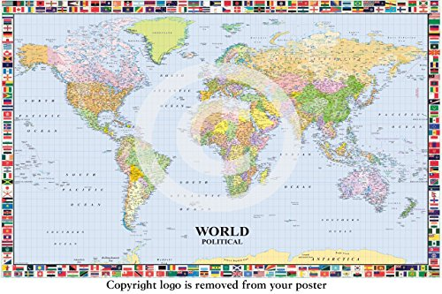 LAMINATED / ENCAPSULATED Political Map of the World with Flags Surround , English Language, Poster Measures 36 X 24 Inches (91.5 X 61cm)