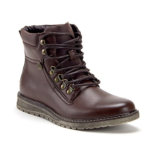 Jazame Men's C-2910 Ankle High Lace up Round Toe Biker Boots, Brown, 11 by Jazame