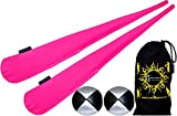 Flames N Games Sock Poi Set (PINK) Pair of Quality Stretchy Lycra Spinning Poi Socks + 2x90g Balls & Travel Bag.