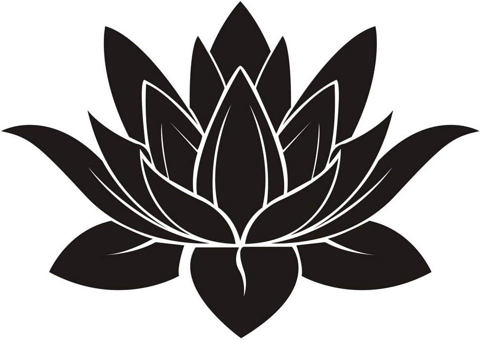 DNVEN 32 inches x 22 inches Black Lotus Flower Hindu Buddha Indian Lotus Yoga Mandala Tribal Wall Vinyl Sticker Decals Decor Art Bedroom Murals