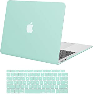 MOSISO MacBook Air 13 inch Case 2020 2019 2018 Release A2179 A1932 with Retina Display, Plastic Hard Shell Case & Keyboard Cover Only Compatible with MacBook Air 13 with Touch ID, Mint Green