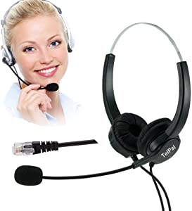 TelPal Telephone Headset, Hands-Free Call Center Noise Cancelling Corded Binaural Headset Headphone 4-Pin RJ9 Crystal Head Mic Microphone Desk Phone -Telephone Counseling Services,Insurance, Hospitals