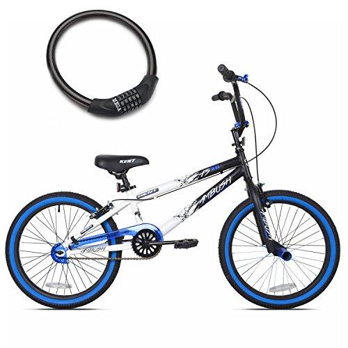 Kent Ambush 20-Inch BMX Bike for Boys in Blue with Bike Cable Lock