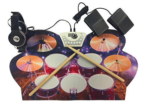 Rock And Roll It - Drum Live! Flexible, Completely Portable, battery OR USB powered drum that gives you the view of being on stage. Headphones + 2 Drum Sticks + Bass Drum & Hi hat pedals included!
