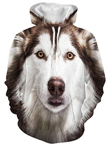 Bear Fleece Jacket - Men's 3D Funny Animal Husky Printed Pullover Long Sleeve Oversized Fleece Hooded Sweatshirts