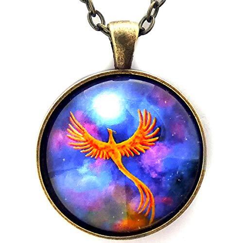 (Laura Milnor Iverson Phoenix Soaring Firebird in A Cosmic Sky Handmade Pendant Necklace Handmade Jewelry)