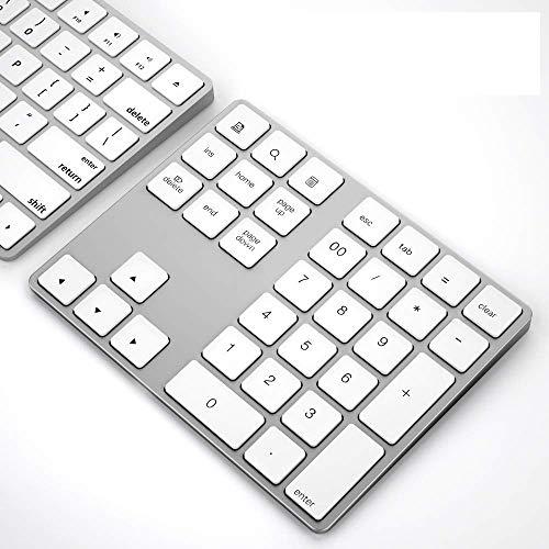 Wireless Numeric Keypad, JOYEKY Aluminum BT Number Pad 34-Keys External Number Keyboard Shortcut Keypad Data Entry Compatible iMac MacBook Air, MacBook Pro, MacBook and Mac Mini etc (Silver)
