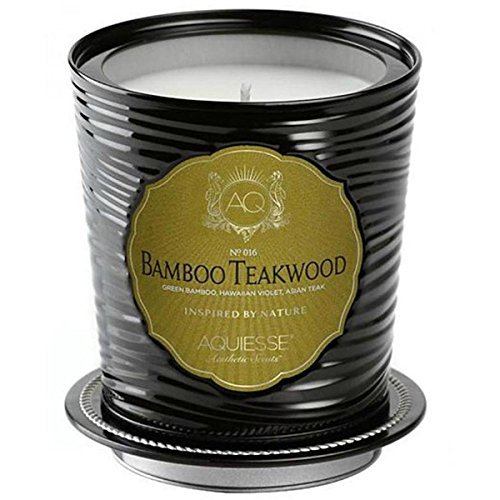 Aquiesse Large Scented Soy Candle Tin Bamboo Teakwood 11oz Approx 100 Hour Burn