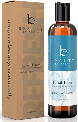 Beauty by Earth Facial Toner with Witch Hazel and Rose Petal Water for face, 8.5 oz.