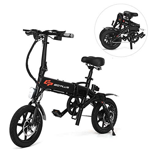 Goplus Folding Electric Bicycle Portable E-Bike with 22 Mile Range, 250W 36V Motor and Dual Disc Brakes, Collapsible Frame, Pedal-Assist and LED Monitor Display