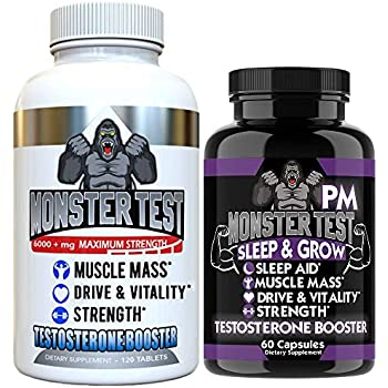 Angry Supplements Test Booster for Men (2 Pack), Monster Test (120 Tablets), Monster PM (60 Capsules) Sleep Aid, Builds Muscle Mass, Both Boost Energy & Drive, All Natural