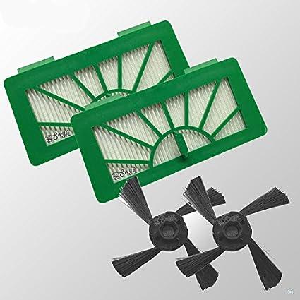 2 Alergia filtro HEPA y 2 cepillos laterales apta para NEATO XV11 xv12 XV15 xv21 XV25
