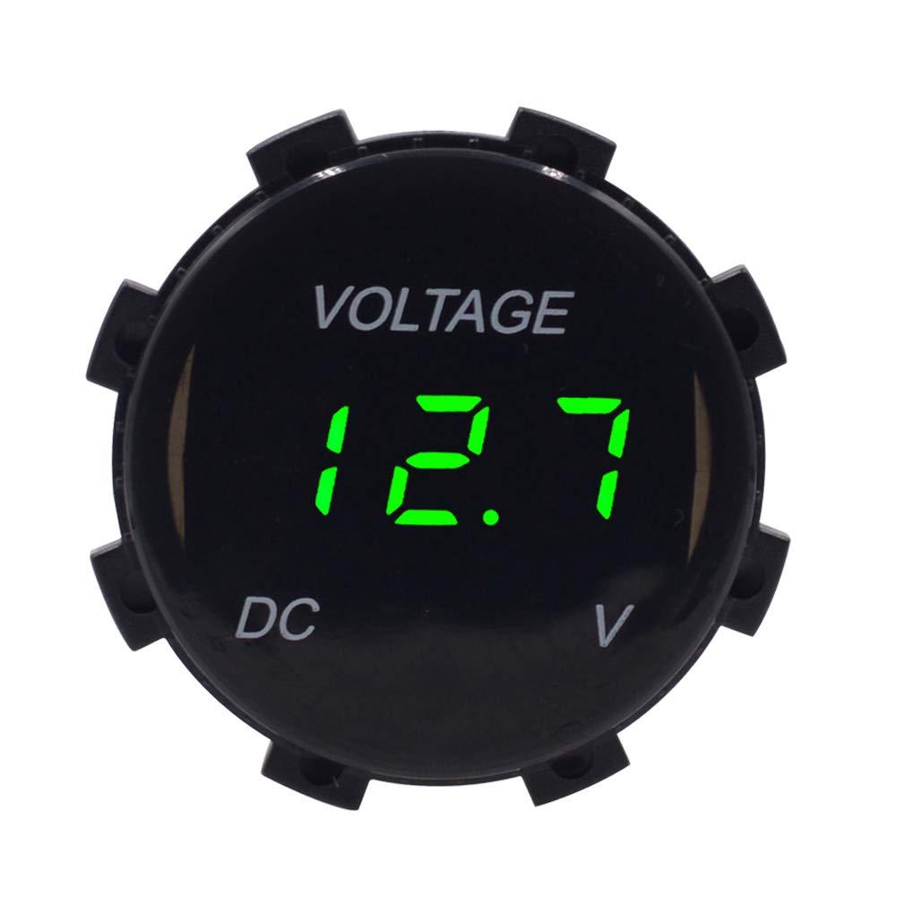 Lin XH Voltmeter12V 24V Num/érique Tension m/ètre Voiture Marine Moto LED Jauge De Batterie Voltm/ètre Num/érique