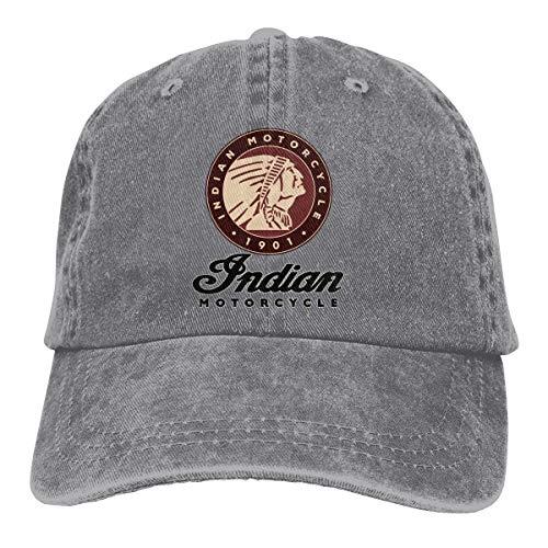 Feeling Unique Indian Motorcycle Vintage Jeans Baseball Cap Classic Cotton Dad Hat Adjustable Plain Cap Gray