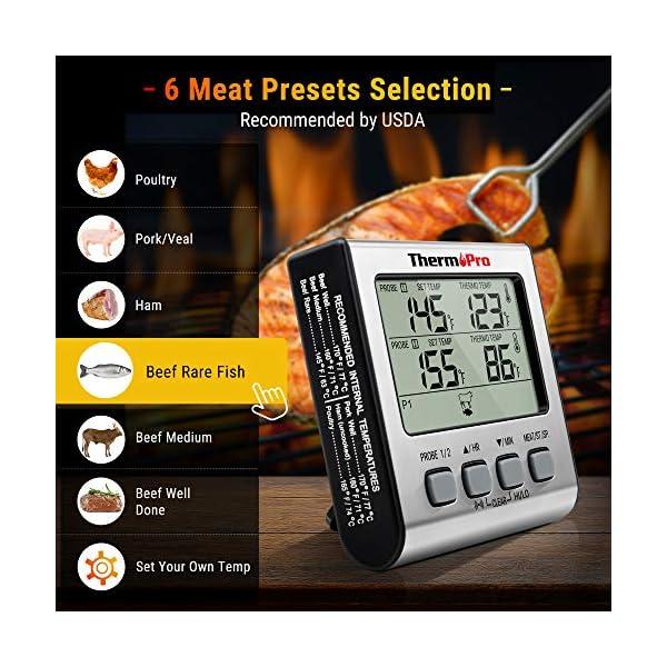 ThermoPro TP17 Termometro Cucina Digitale a Doppia Sonda con Modalità Timer e Display LCD per Cottura BBQ Alimenti Carne… 3