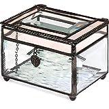 J Devlin Box 583 Beveled Glass Jewelry Box Translucent Pink Champagne Heart Charm Romantic Trinket Keepsake Gift