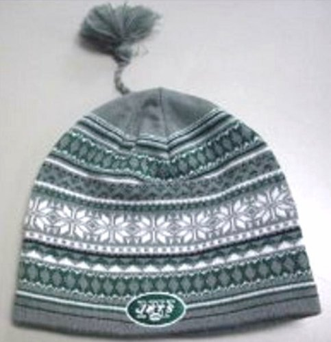 Reebok New York Jets Gray Tassle Knit Beanie