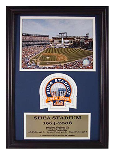 Encore Select 190-28 MLB New York Mets Deluxe Frame Shea Stadium Print, 12-Inch by 18-Inch (Shea Autographed Baseball)