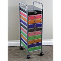 4D Concepts 10-Drawer Rolling Storage, Multi Color-Drawers