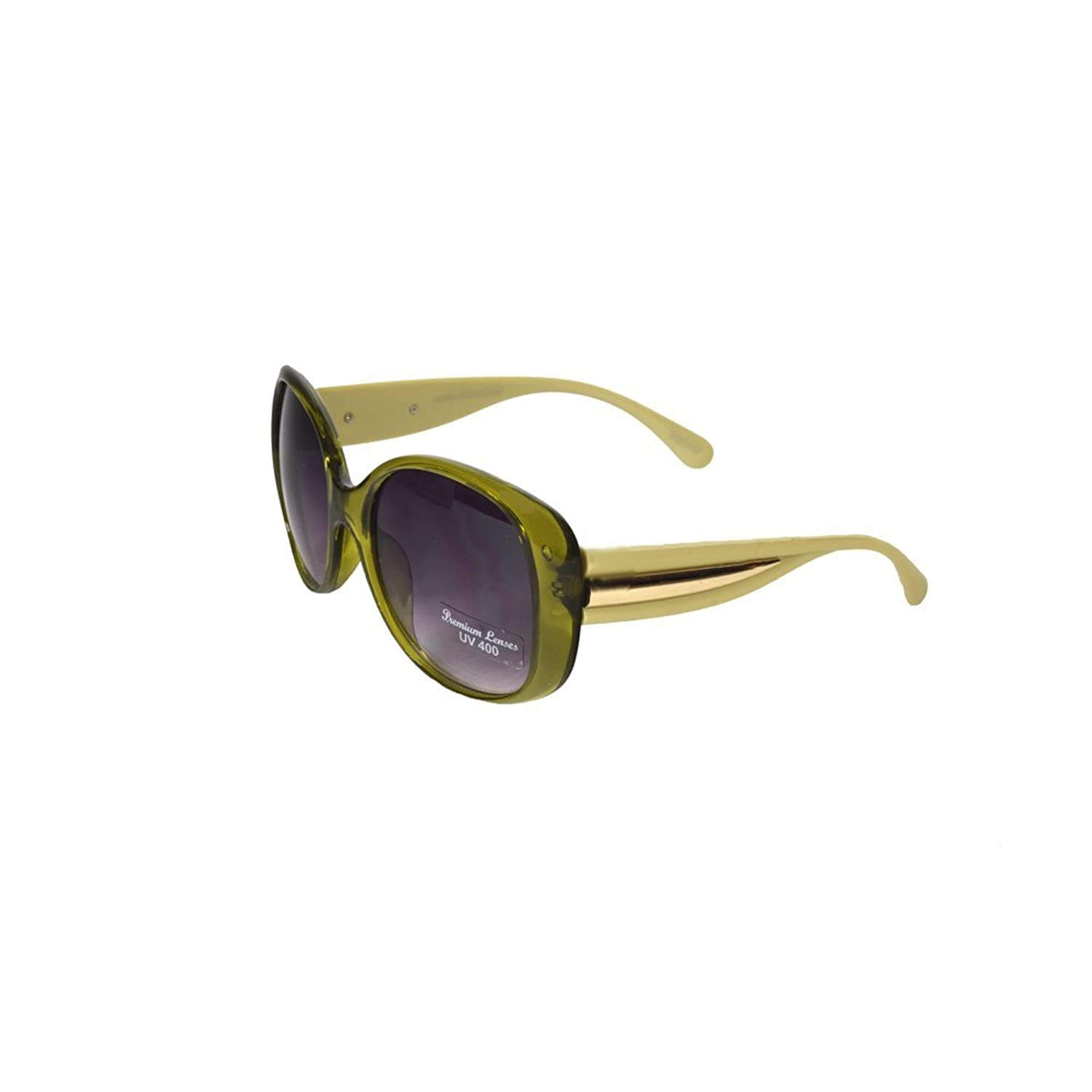 'Lupita' Designer Inspired Green Sunglasses with Gold Toned Detail