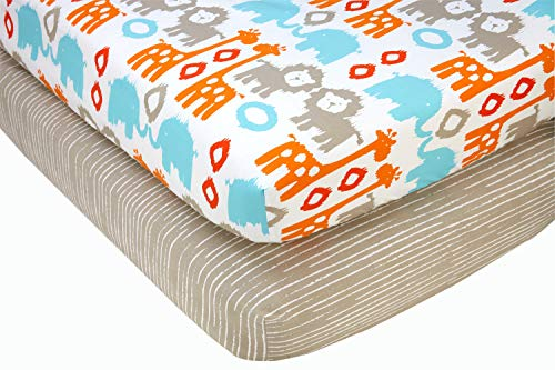 (Sumersault Animals 2 Piece Fitted Crib Sheets, Orange, Turquoise, Grey, White)
