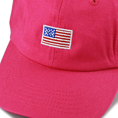 THE HAT DEPOT Kids American Flag Washed Low Profile Cotton and Denim Plain Baseball Cap Hat (2-5yrs, Hot Pink) by THE HAT DEPOT (Image #2)