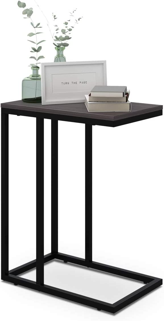 WLIVE Snack Side Table, C Shaped End Table for Sofa Couch and Bed, Grey Oak