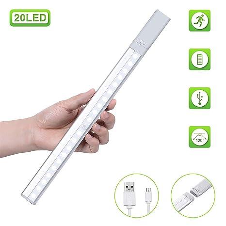 Luz Nocturna, GLIME Cabinet Light 20 LED Recargable USB 3 modo con movimiento Sensor de